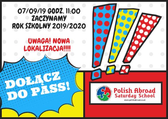 Rozpoczęcie Roku Szkolnego 2019/2020 – w nowej lokalizacji!